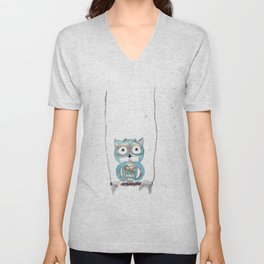 Owl Fun #2 #blue #gold #drawing #decor #art #society6 Unisex V-Neck