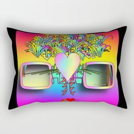 Glasses With Hearts and Flowers Rectangular Pillow