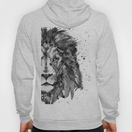 Black And White Half Faced Lion Hoody