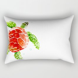 turtle, swimming turtle design red-green turtle art Rectangular Pillow