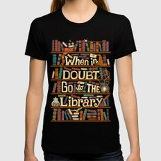 Go to the library LARGE Black Womens Fitted Tee