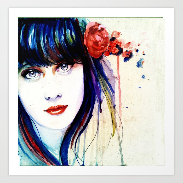 Zooey Watercolor Art Print