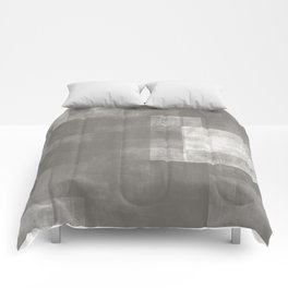 Gray + White | Abstract No. 8 Comforters