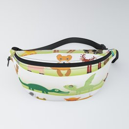 Set of funny cartoon animals character on white background Fanny Pack