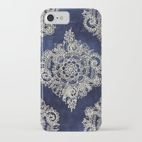 color iPhone & iPod Cases featuring Cream Floral Moroccan Pattern on Deep Indigo Ink by micklyn
