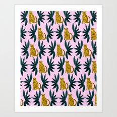 Cheetah and Leaves Art Print
