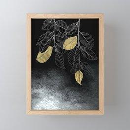Leaves over black smoke Framed Mini Art Print
