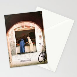 Two women at a market in the souks, Medina in Marrakech Morocco Stationery Cards