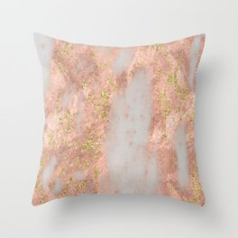 Rose Gold Marble with Yellow Gold Glitter Throw Pillow