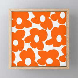 Orange Retro Flowers White Background #decor #society6 #buyart Framed Mini Art Print
