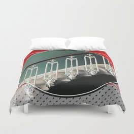 Stairway - red graphic Duvet Cover