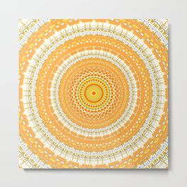 Marigold Orange Mandala Design Metal Print