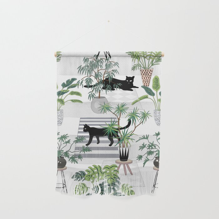 cats in the interior pattern Wall Hanging