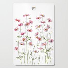 Pink Cosmos Flowers Cutting Board