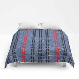 Digital Graphic Pattern Blue Denim Comforters