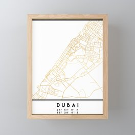 DUBAI UNITED ARAB EMIRATES CITY STREET MAP ART Framed Mini Art Print