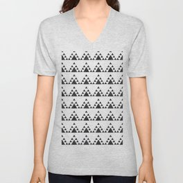 Trendy hand painted black white watercolor triangles zigzag Unisex V-Neck