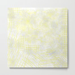 Abstract Overlay-Yellow,Gray and White Metal Print