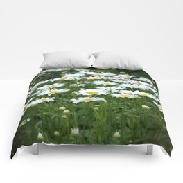 White Daisy Field Comforters