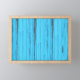 small abstract colored  blue wood pattern with fine structure Framed Mini Art Print