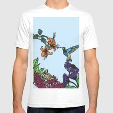 Hummingbird Garden Paper-cut  Mens Fitted Tee MEDIUM White