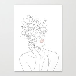 Minimal Line Art Woman with Magnolia Canvas Print