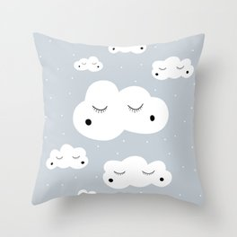 clouds and dots Throw Pillow