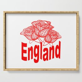 England Text With English Red Rose Emblem Serving Tray
