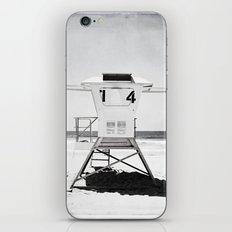 Black and White Beach Photography, Grey Lifeguard Stand, Gray Coastal Nautical Art iPhone & iPod Skin