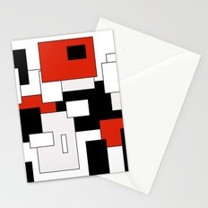 Squares - red, gray, black and white Stationery Cards