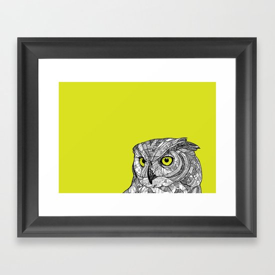 Green Eyed Owl Framed Art Print