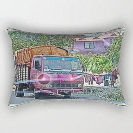 KATHMANDU NEIGHBORHOOD THROUGH CRACKED WINDSHIELD  Rectangular Pillow