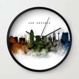 San Antonio Watercolor Skyline Wall Clock