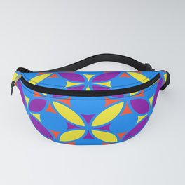 Geometric Floral Circles Vibrant Color Challenge In Bold Red Yellow Purple & Blue Fanny Pack