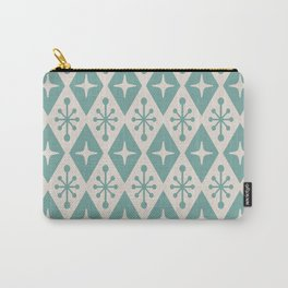 Mid Century Modern Atomic Triangle Pattern 710 Green and Beige Carry-All Pouch