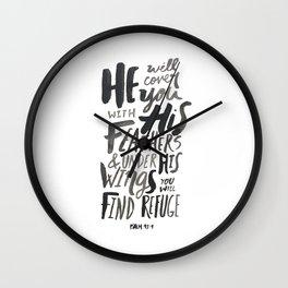 Psalm 91: 4 Wall Clock