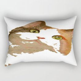 I'm All Ears - Cute Calico Cat Portrait Rectangular Pillow