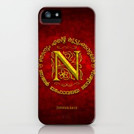 Joshua 24:15 - (Gold on Red) Monogram N iPhone Case