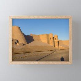 Khiva City Wall at sunset Framed Mini Art Print