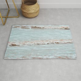 sea waves photography vintage colors Rug