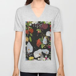 Pomegranate and lily and colorful flowers pattern black background #artprint Unisex V-Neck