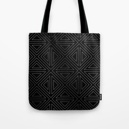 Angled Black & Silver Tote Bag