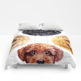 Toy poodle friends mix, Dog illustration original painting print Comforters