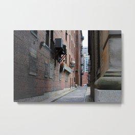 Narrow Alley Red Brick Metal Print