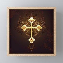 Golden Cross Framed Mini Art Print