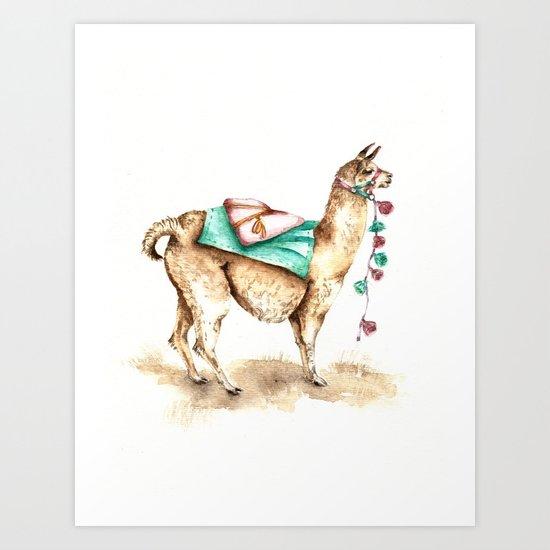 Watercolor Llama Art Print