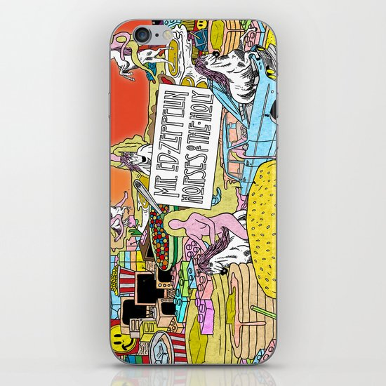 """Mr. Ed-Zeppelin - """"Horses of the Holy"""" by Steven Fiche iPhone & iPod Skin"""