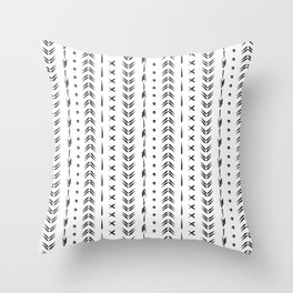 Black and white boho tribal pattern design Throw Pillow