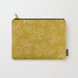 White Branch and Leaves on Mustard Yellow Carry-All Pouch