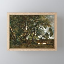 Théodore Rousseau Forest of Fontainebleau, Cluster of Tall Trees Overlooking the Plain of Clair-Bois Framed Mini Art Print